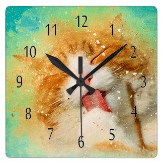 Relógio Quadrado Pulso de disparo do gato da aguarela, lavagem do