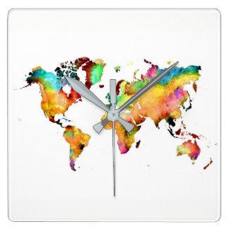 Relógio Quadrado pulso de disparo do mapa do mundo