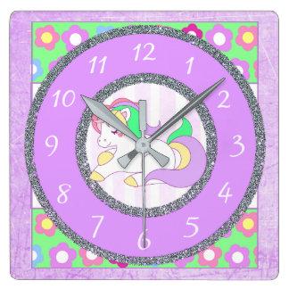 Relógio Quadrado Pulso de disparo do unicórnio com as flores roxas