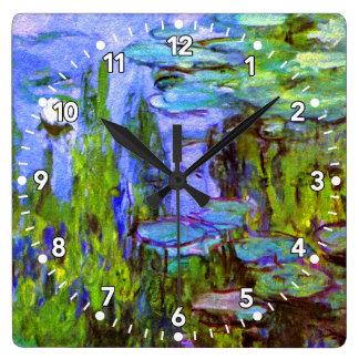 Relógio Quadrado Pulso de disparo dos lírios de água de Monet no