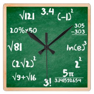 Relógio Quadrado Pulso de disparo dos Maths com beira de madeira