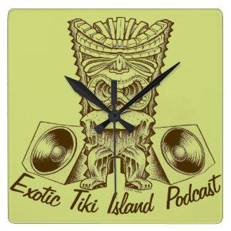 Relógio Quadrado Pulso de disparo exótico do Podcast da ilha de