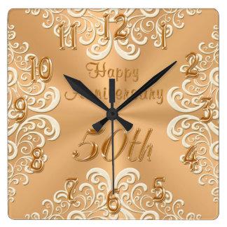 Relógio Quadrado Pulso de disparo feliz do aniversário do ouro e de