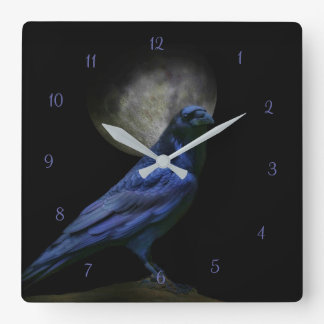 Relógio Quadrado Pulso de disparo gótico mágico do corvo