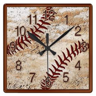 Relógio Quadrado PULSO DE DISPARO legal do basebol da decoração da