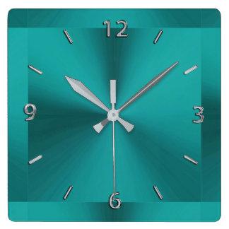 Relógio Quadrado Pulso de disparo metálico do verde escuro da