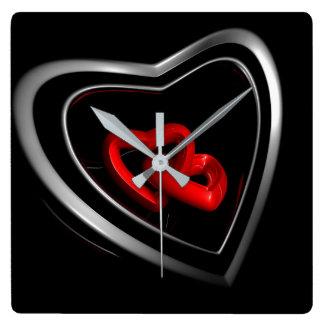 Relógio Quadrado Pulso de disparo preto do coração