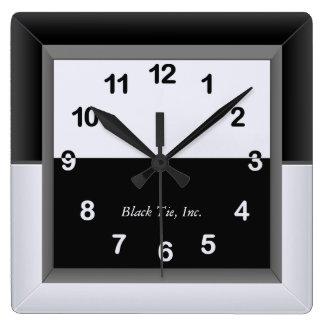 Relógio Quadrado Pulso de disparo preto e branco elegante