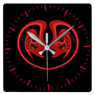 Relógio Quadrado Pulso de disparo preto e vermelho com abstrato,