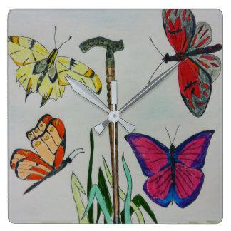 Relógio Quadrado Pulso de disparo quadrado. borboletas