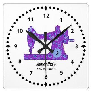 Relógio Quadrado Pulso de disparo roxo da máquina de costura de