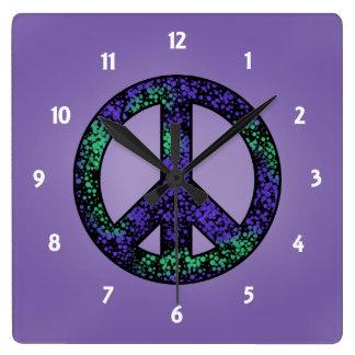 Relógio Quadrado Pulso de disparo salpicado do sinal de paz 3