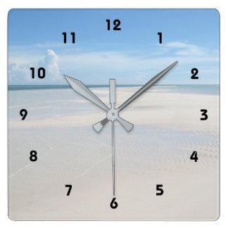 Relógio Quadrado Pulso de disparo tropical da opinião da praia da