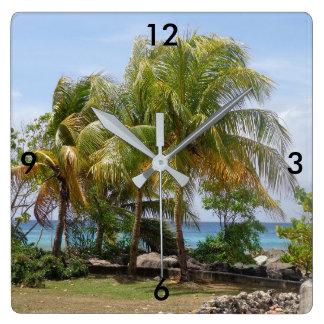 Relógio Quadrado Pulso de disparo tropical da palmeira