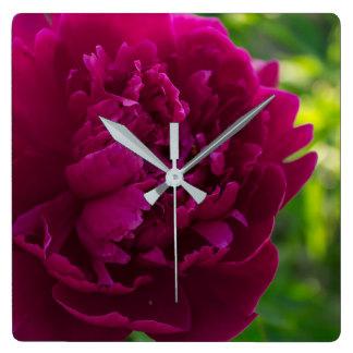 Relógio Quadrado Pulsos de disparo cor-de-rosa da peônia