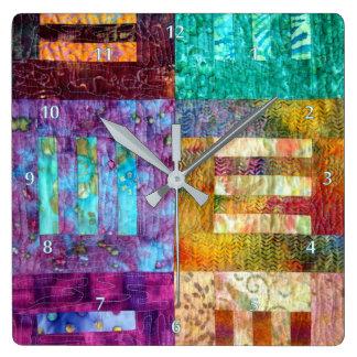 Relógio Quadrado Quadrados estofando do Batik