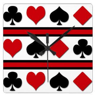 Relógio Quadrado Quatro ternos do cartão
