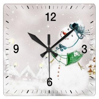 Relógio Quadrado Queda de neve no Natal