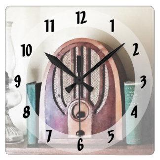 Relógio Quadrado Rádio dos anos 30 do vintage