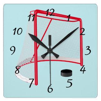 Relógio Quadrado Rede e disco ilustrados do objetivo do hóquei