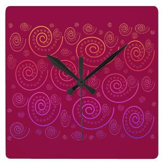 Relógio Quadrado Redemoinhos do abstrato