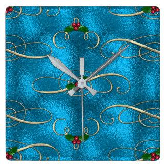 Relógio Quadrado Redemoinhos modernos & à moda do Natal