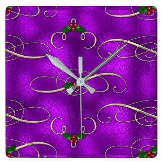 Relógio Quadrado Redemoinhos românticos do Natal do Lilac
