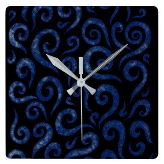 Relógio Quadrado Redemoinhos Textured azuis