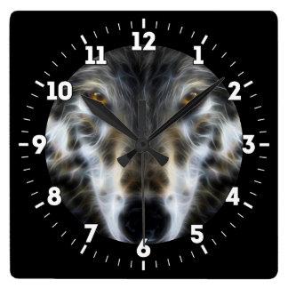 Relógio Quadrado Retrato gráfico inspirado do lobo em a