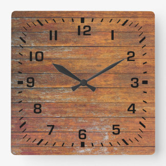 Relógio Quadrado Revestimento de madeira resistido velho do falso