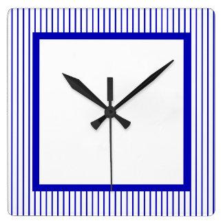 Relógio Quadrado Riscas brancas azuis escuro