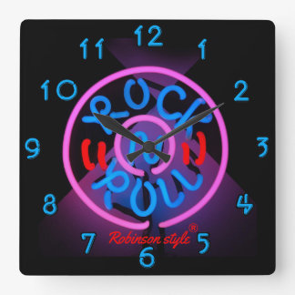 Relógio Quadrado Rolo de néon do n da rocha personalizado