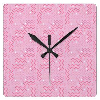Relógio Quadrado Rosa Pastel Funky Memphis Designmemphis, alto,