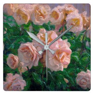 Relógio Quadrado Rosas cor-de-rosa macios