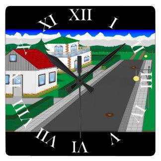 Relógio Quadrado Ruas e construção de casa