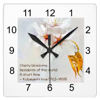 Relógio Quadrado Sakura - flor de cerejeira japonesa