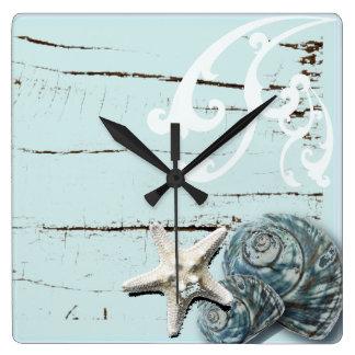Relógio Quadrado Seashells azuis da estrela do mar do aqua de