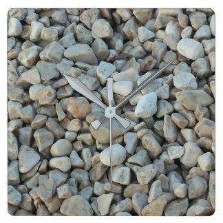 Relógio Quadrado Seixos na fotografia da pedra da praia