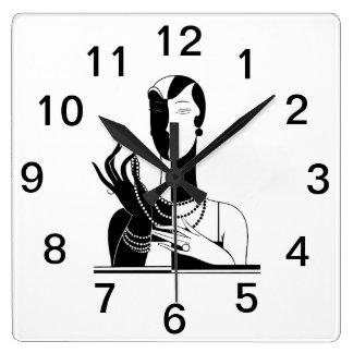 Relógio Quadrado Senhora Com Pérola Preto Transp do art deco do