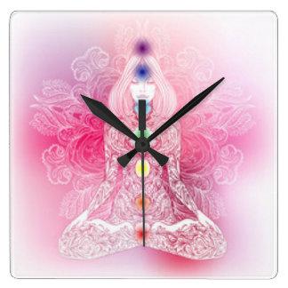 Relógio Quadrado Senhora cor-de-rosa de sete Chakras