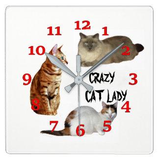 Relógio Quadrado Senhora louca do gato
