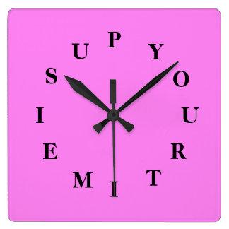 Relógio Quadrado Seu tempo é acima do pulso de disparo de parede