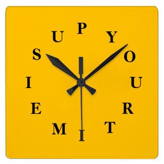 Relógio Quadrado Seu tempo é acima do pulso de disparo de parede do