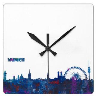 Relógio Quadrado Silhueta da skyline de Munich