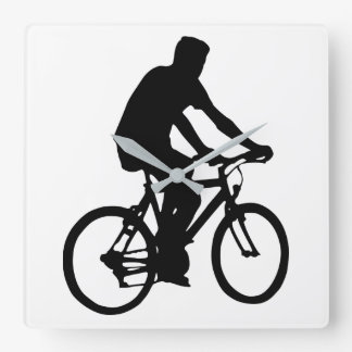 Relógio Quadrado Silhueta do Bicyclist