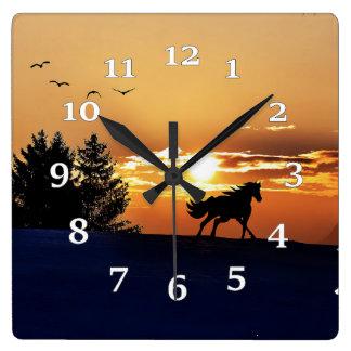 Relógio Quadrado Silhueta do cavalo
