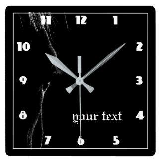 Relógio Quadrado Silhueta do cavalo preto & branco