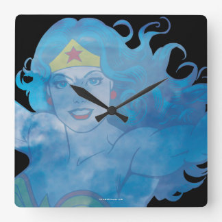 Relógio Quadrado Silhueta do céu azul da mulher maravilha