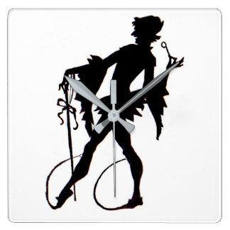 Relógio Quadrado silhueta do mágico do 1920