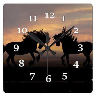 Relógio Quadrado Silhuetas do cavalo